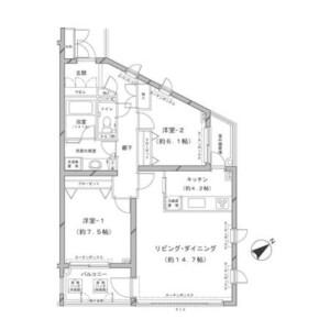 澀谷區鉢山町-2LDK公寓大廈 房間格局