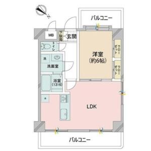 1LDK {building type} in Higashiyama - Meguro-ku Floorplan