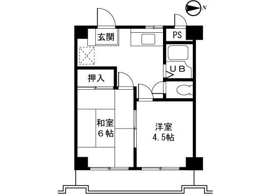 在町田市内租赁2DK 公寓大厦 的 楼层布局