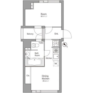 1DK Apartment in Azabujuban - Minato-ku Floorplan