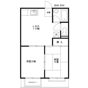 2LDK Apartment in Nakameguro - Meguro-ku Floorplan