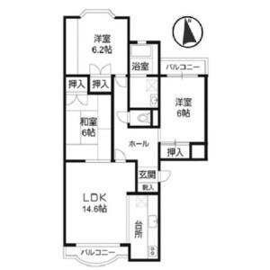 3LDK Mansion in Amanumacho - Saitama-shi Omiya-ku Floorplan