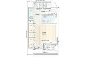 1SK Apartment to Rent in Minato-ku Floorplan