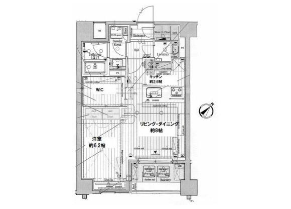 1LDK Apartment to Rent in Yokohama-shi Naka-ku Floorplan