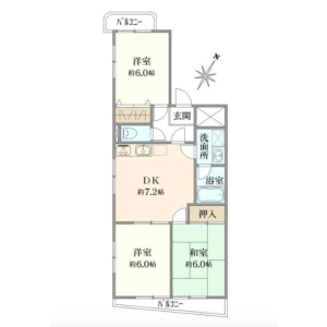 3DK Apartment in Sugamo - Toshima-ku Floorplan