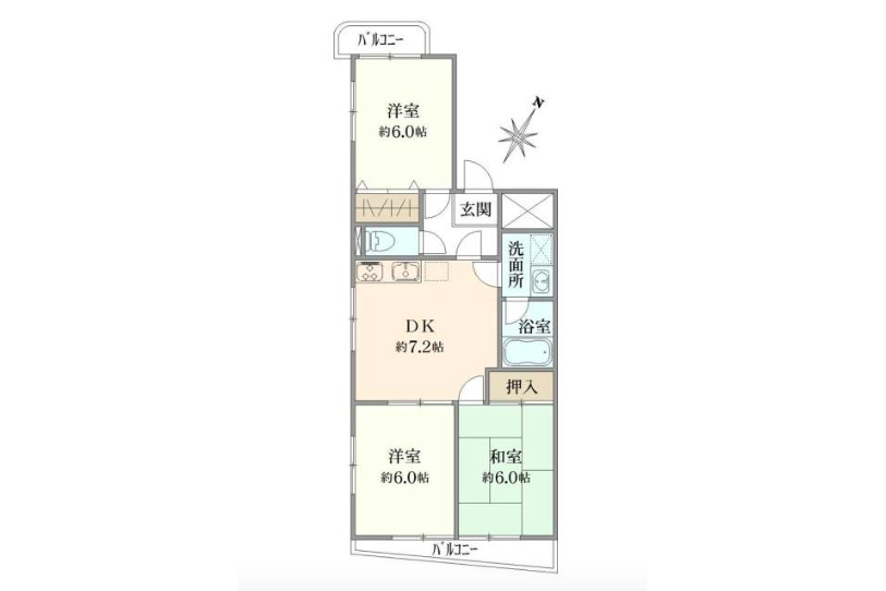 3DK Apartment to Buy in Toshima-ku Floorplan