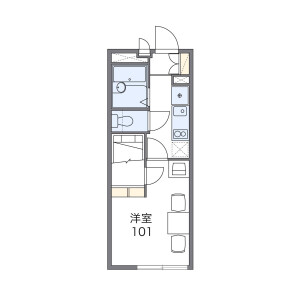1K Mansion in Akebonocho - Tachikawa-shi Floorplan
