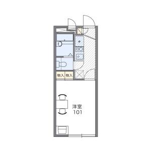 福岡市東区 筥松 1K アパート 間取り
