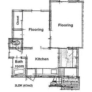 2DK Apartment in Minamidai - Nakano-ku Floorplan