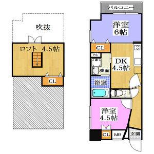 2SDK Mansion in Naniwacho - Osaka-shi Kita-ku Floorplan