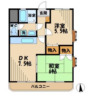 2DK Mansion in Misawa - Hino-shi Floorplan