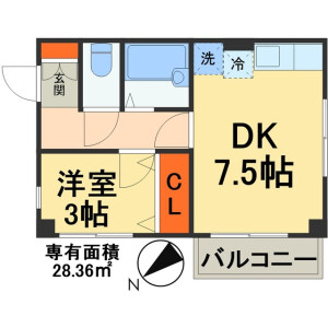 船橋市三山-1DK公寓大厦 楼层布局