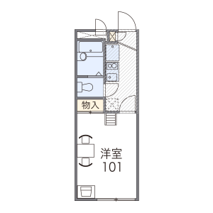 京都市中京区 西ノ京西月光町 1K アパート 間取り