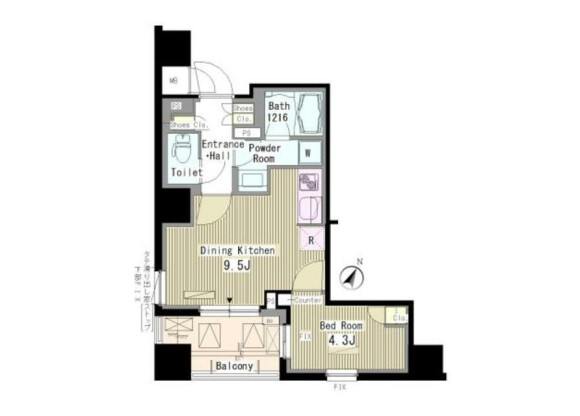 1LDK Apartment to Rent in Shinagawa-ku Floorplan