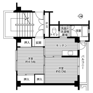 2K Mansion in Butsuden - Uozu-shi Floorplan