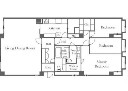 3LDK Apartment to Rent in Meguro-ku Floorplan