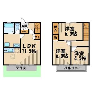 3LDK Terrace house in Shinshukushinden - Kasukabe-shi Floorplan