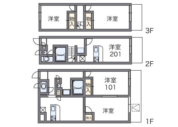 2DK アパート 八尾市 間取り