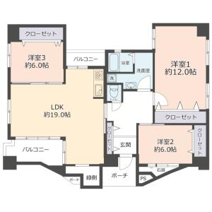 3LDK {building type} in Kitahorie - Osaka-shi Nishi-ku Floorplan