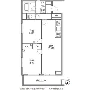 2LDK Mansion in Tsurumaki - Setagaya-ku Floorplan