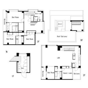 5SLDK Terrace house in Motoazabu - Minato-ku Floorplan