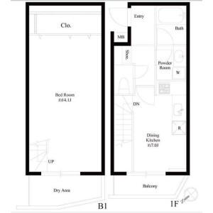 1DK Mansion in Higashiyama - Meguro-ku Floorplan