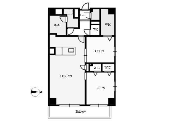 2LDK Apartment to Rent in Nagoya-shi Nakamura-ku Floorplan
