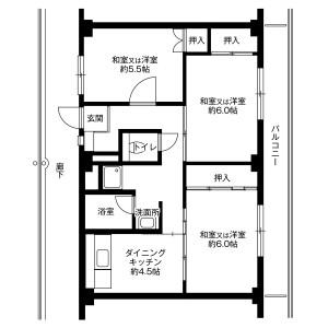 呉市焼山宮ケ迫-3DK公寓大厦 楼层布局