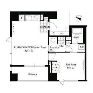 1LDK Apartment in Udagawacho - Shibuya-ku Floorplan