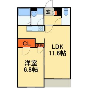 1LDK Apartment in Tsukazaki - Kashiwa-shi Floorplan