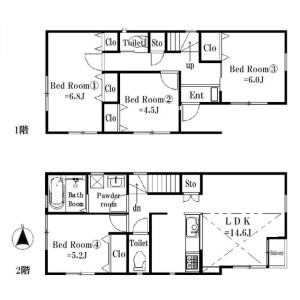 4LDK House in Nakazato - Yokohama-shi Minami-ku Floorplan