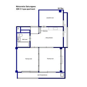 3DK Mansion in Sakuragawa - Itabashi-ku Floorplan