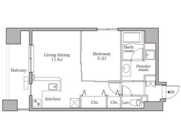 1LDK 맨션 to Rent in Minato-ku Floorplan