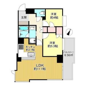 2LDK Mansion in Azabujuban - Minato-ku Floorplan