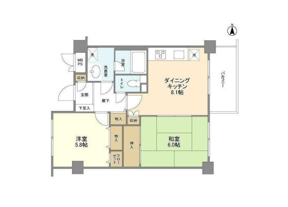 2DK Apartment to Rent in Shinagawa-ku Floorplan
