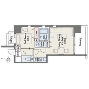 港区南麻布-1LDK公寓 楼层布局