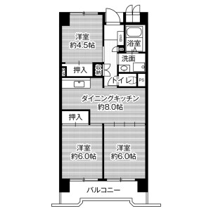 3DK Mansion in Motoshiocho - Nagoya-shi Minami-ku Floorplan