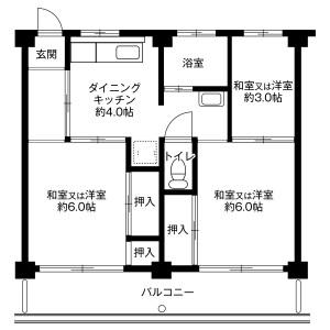 各務原市金属団地-3DK公寓大廈 房間格局