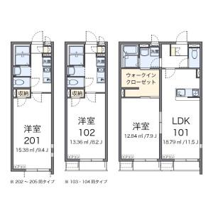 福岡市東区名島-1K公寓 楼层布局