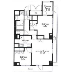 2LDK Apartment in Kitazawa - Setagaya-ku Floorplan
