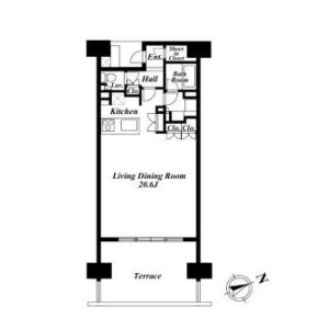 1R Apartment in Kaigan(3-chome) - Minato-ku Floorplan