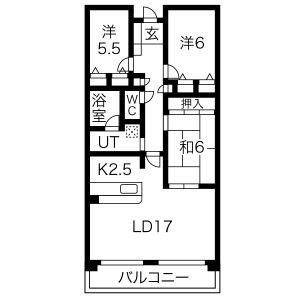 3LDK Mansion in Nishikammuri - Takatsuki-shi Floorplan