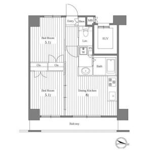 2DK Apartment in Hiroo - Shibuya-ku Floorplan