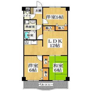3LDK Mansion in Higashitaishi - Yao-shi Floorplan