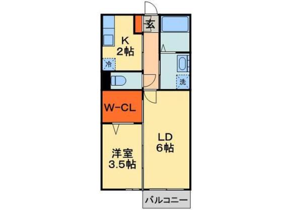 2K Apartment to Rent in Chiba-shi Chuo-ku Floorplan