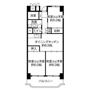 岐阜市西中島-3DK公寓大厦 楼层布局