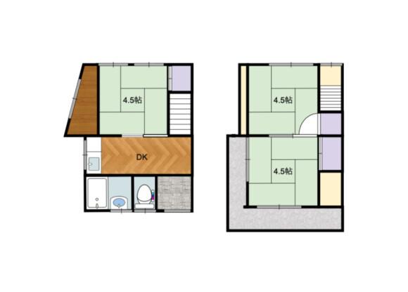 3DK House to Rent in Kobe-shi Nagata-ku Floorplan