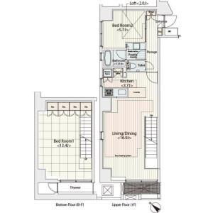 2LDK Mansion in Hatchobori - Chuo-ku Floorplan