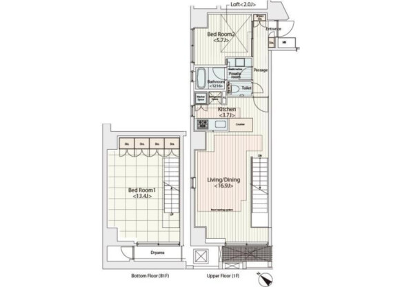 2LDK Apartment to Rent in Chuo-ku Floorplan