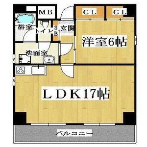 大阪市中央区 内本町 1LDK マンション 間取り